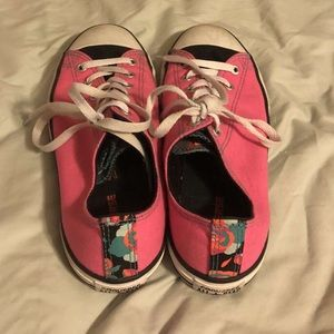 white and pink converse shoes